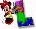 Alfabeto de Minnie Mouse pintando L.