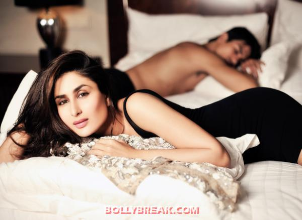 Kareena Kapoor on bed with some model - Kareena Kapoor Filmfare Magazine Latest Photoshoot Pics