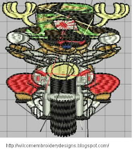 harley Davidson motorcycle embroider design