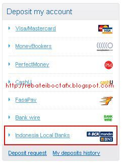 Deposit Local Bank OctaFx Bank BCA Step-1