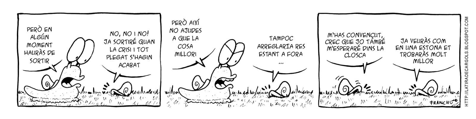 Tira comica 139 del webcomic Cargols del dibuixant Franchu de Barcelona