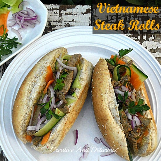 Vietnamese Steak Rolls ~ perfect light dinner or great for lunch as well #SteakRolls #Dinner #Lunch