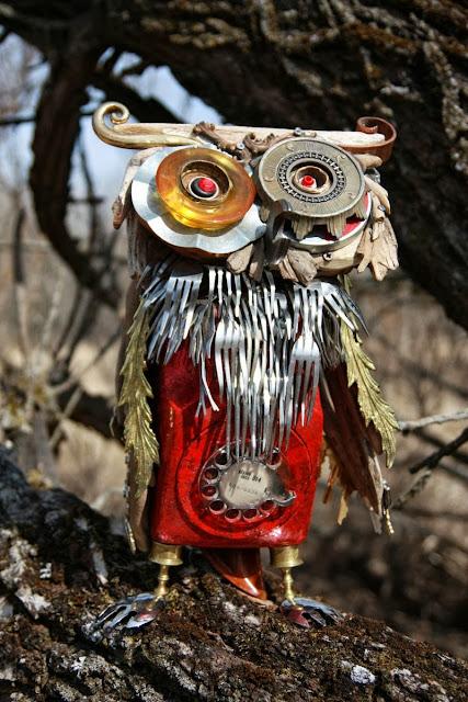"Junk Assemblage Owl Art ""La Chouette"" by Nathalie Trepanier"