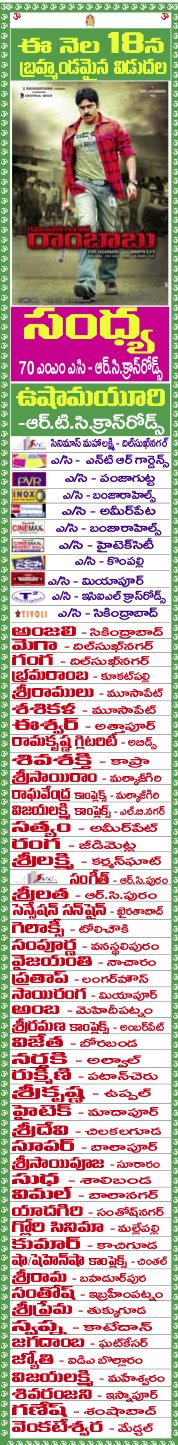 CMGR Hyderabad Theatre List
