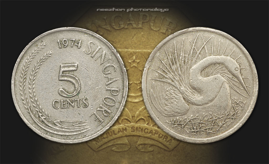 Singapore coin 5 cents 1974 Snake bird