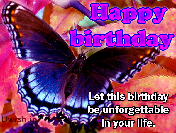 Happy birthday with butterfly e greeting cards and wishes with unforgettable day
