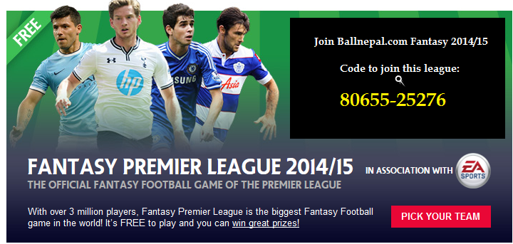 Join Fantasy League 2014/15