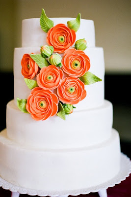 Wedding Cakes Bright Orange Flowers #1: white wedding cake orange flowers