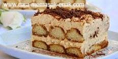 resep praktis dan mudah membuat (memasak) makanan kue tiramisu cheese cake spesial enak, lezat