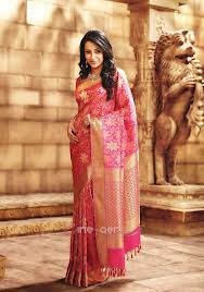 pink color wedding silk saree