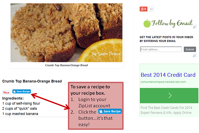 ZipList instruction for Saving Recipes using the Save Recipe button