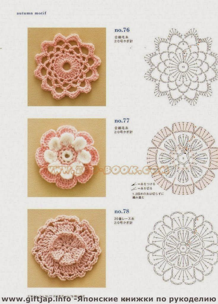 Hermosa Tres Capas Patrón De Flores De Ganchillo Composición - Coser ...