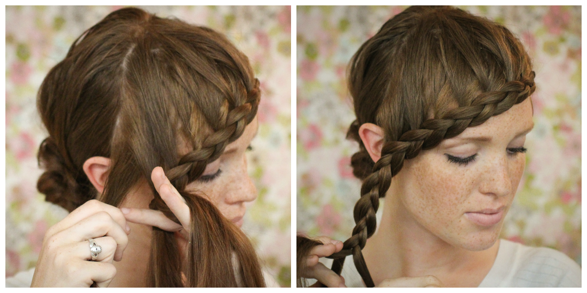 The freckled fox hair tutorial braided bangs this is where youre adding hair only to one side of your french braid duh ccuart Gallery