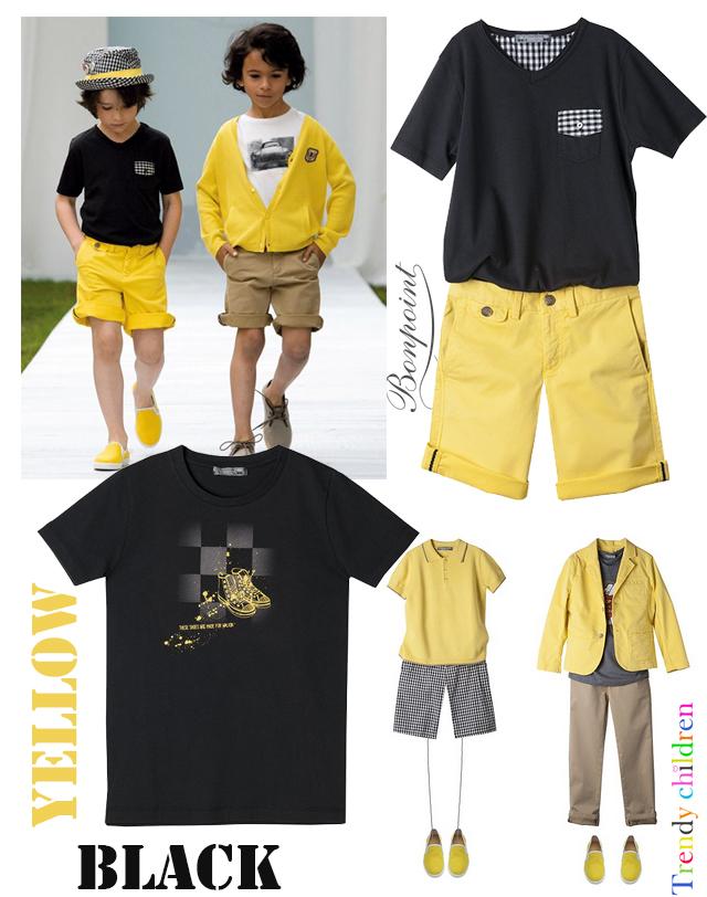 estilismos amarillo blanco y negro niño verano 2014