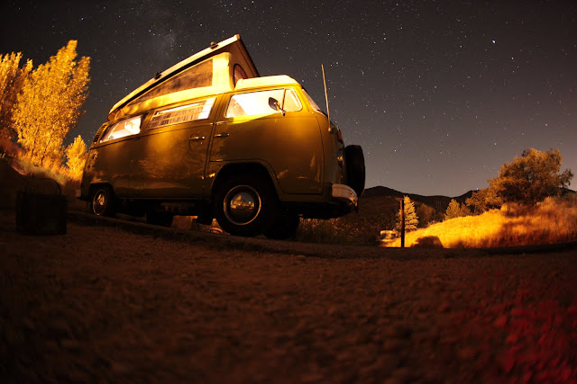 Under the stars while Utah camping at Jordanelle State Park in a 1976 Volkswagen van.
