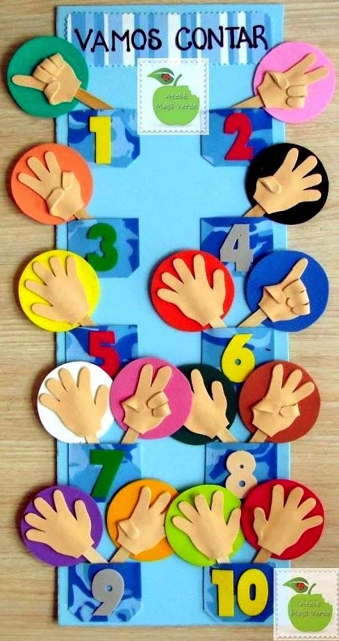 decorar sala de kinder:Painel de EVA para aprender a contar