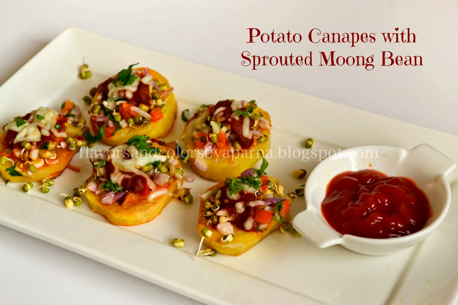 Potato canapes with sprouted moong bean flavors n colors for Canape ingredients
