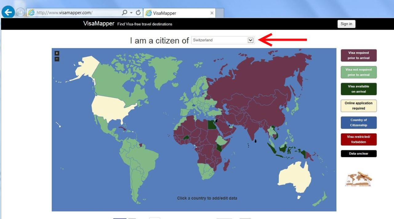 Wo braucht man ein visum