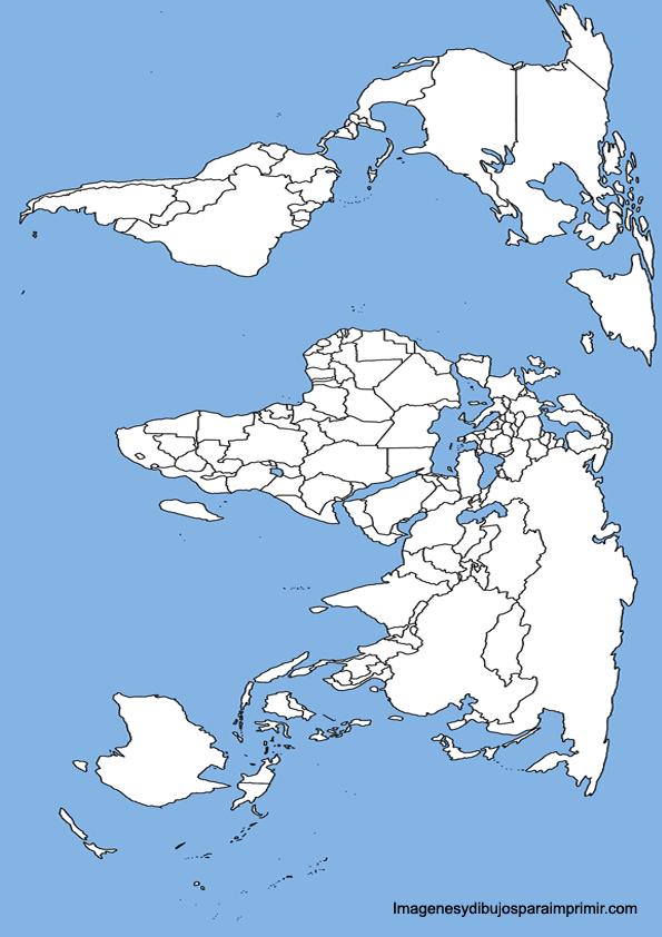 Mapa del mundo con el mar azul