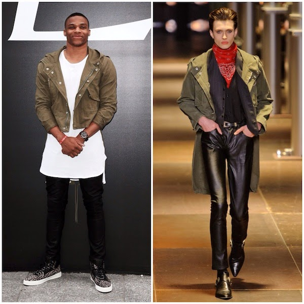 Russell Westbrook at Saint Laurent show - Paris Fashion Week Menswear Spring Summer 2015