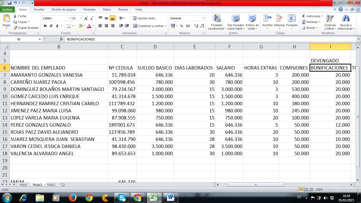 Plantilla Excel Nomina
