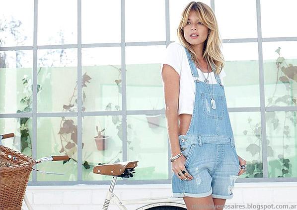 Moda y tendencias primavera verano 2015 enteritos de jeans Zhoue.