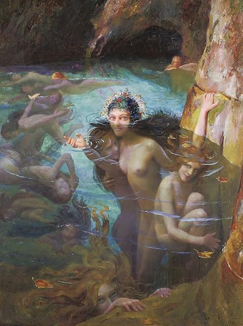 sea nymphs,art nouveau,disguised symbolism art