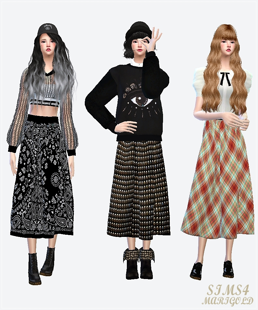 Long Flared Skirts by Sims 4 Marigold. My Sims 4 Blog  Long Flared Skirts by Sims 4 Marigold