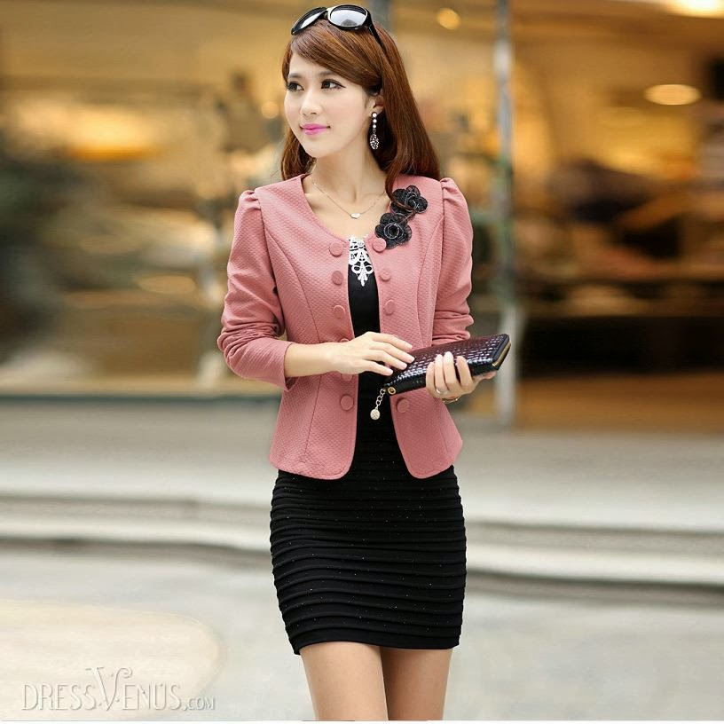 Pink Blazer and Black Mini Dress