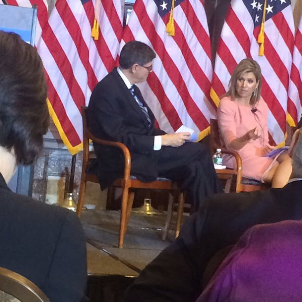 Queen Maxima of the Netherlands participates in the Financial Inclusion Forum at the Treasury Department