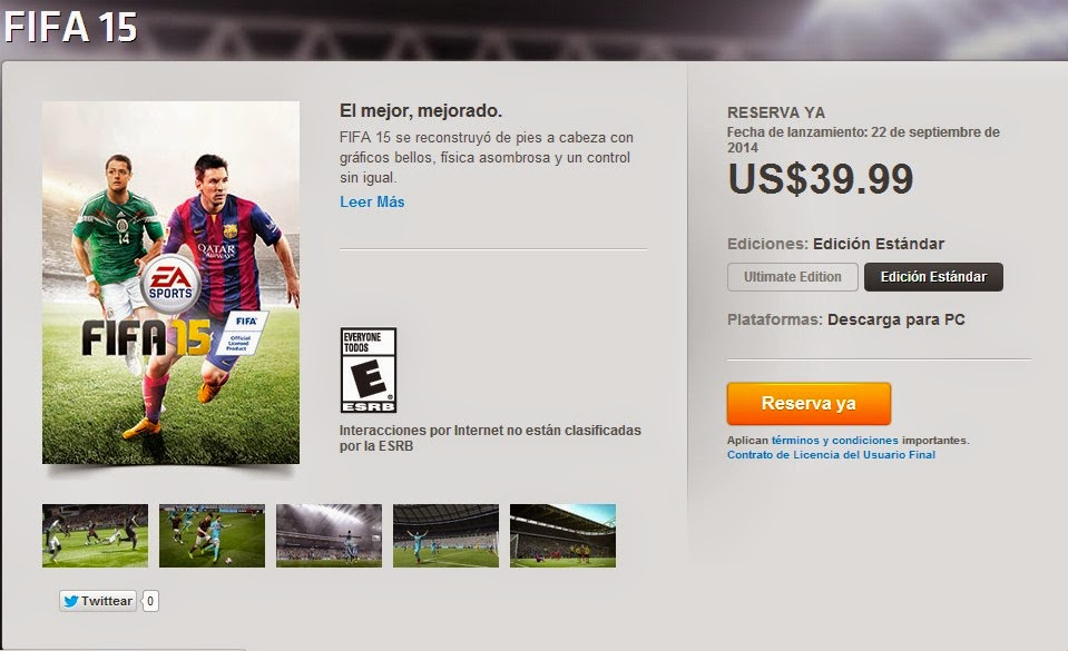 Buy Cheapest FIFA 15  Standard Edition From Origin Store With Mexico VPN