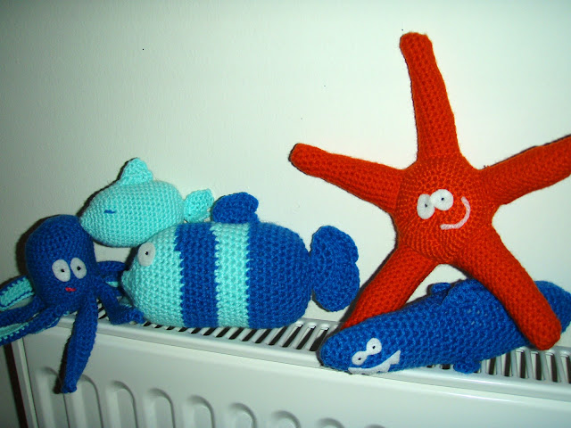 crochet plush toys orange starfish blue fish and octopus