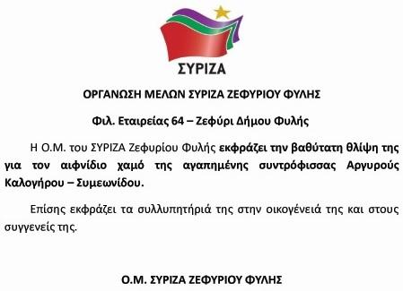 Θλίψη στο ΣΥΡΙΖΑ ΖΕΦΥΡΙΟΥ-ΦΥΛΗΣ για το αιφνίδιο χαμό της δασκάλας