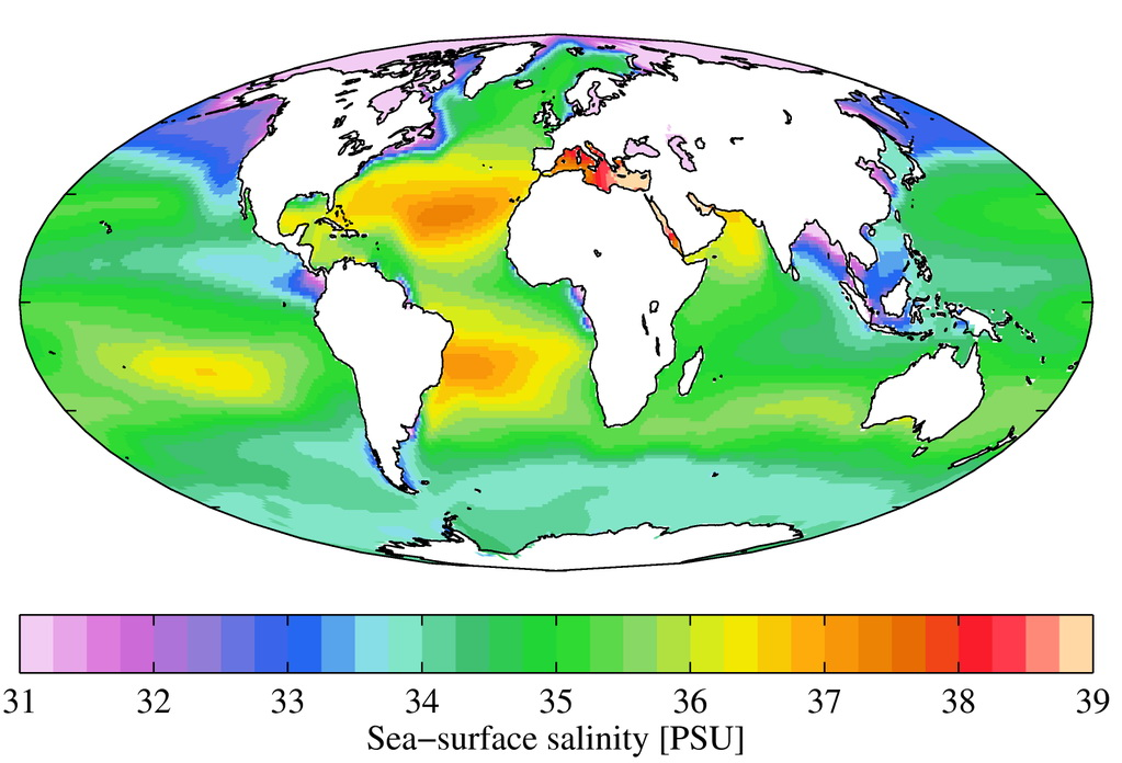 Sea surface salinity in the around the World