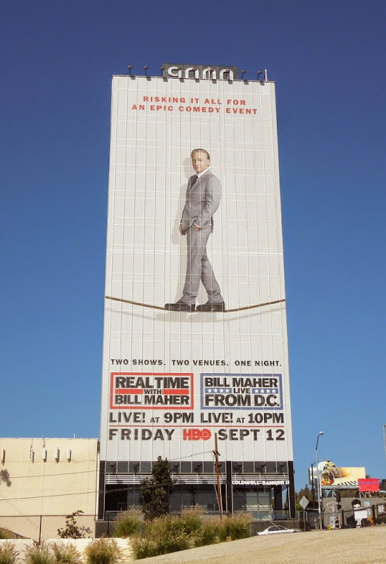 Giant Real Time with Bill Maher tightrope billboard
