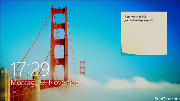 Sticky Note for Windows 8 Lock Screen