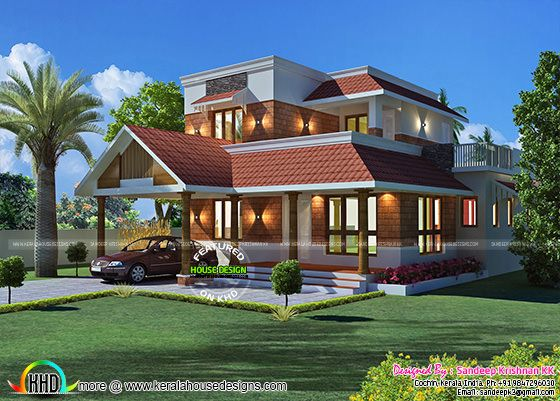 Laterite stone wall cladding house side elevation