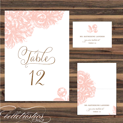 pink peony sweet romantic printable wedding print your own wedding reception table number escort place card design