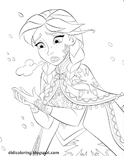 Download Princess Anna Walt Disney Characters Frozen Movie Coloring Page
