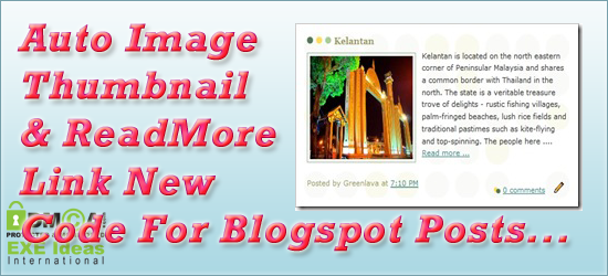 Auto Image Thumbnail & ReadMore Link For Blogger Post