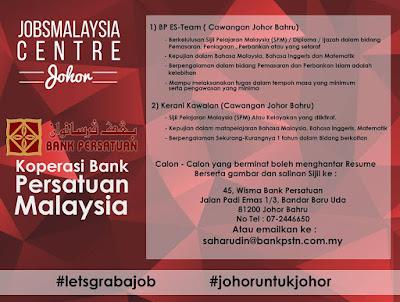 Bank Persatuan Cawagan Johor Jawatan Kosong