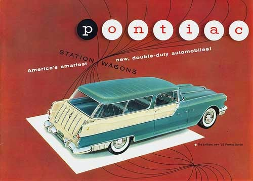 1955 Pontiac Safari ad highlights the forward slant of the roofline of the 2-door wagon and decorative flash of the tailgate trim.