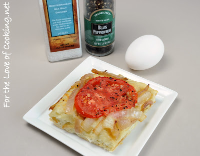 Poached Egg on Caramelized Onion, Tomato, and Asiago Focaccia