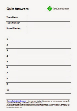Table quiz helper table quiz answer sheets for Table quiz questions and answers
