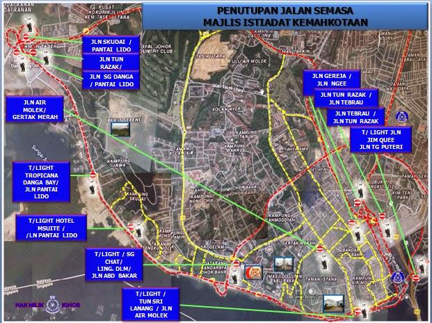 Penutupan Jalan Sempena Istiadat Kemahkotaan DYMM Sultan Johor