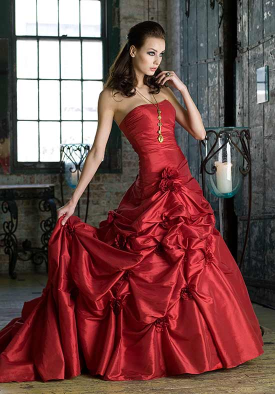 Wedding by designs red wedding dress for Wedding dress red