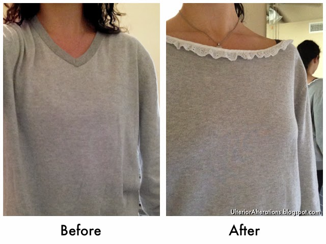 Ulterior Alterations: DIY Eyelet Trimmed Neckline Refashion