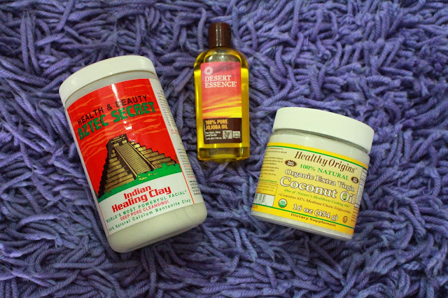 Healthy Origins Organic Extra Virgin Coconut Oil, Desert Essence Pure Jajoba Oil, Aztec Secrets Indian Healing Clay
