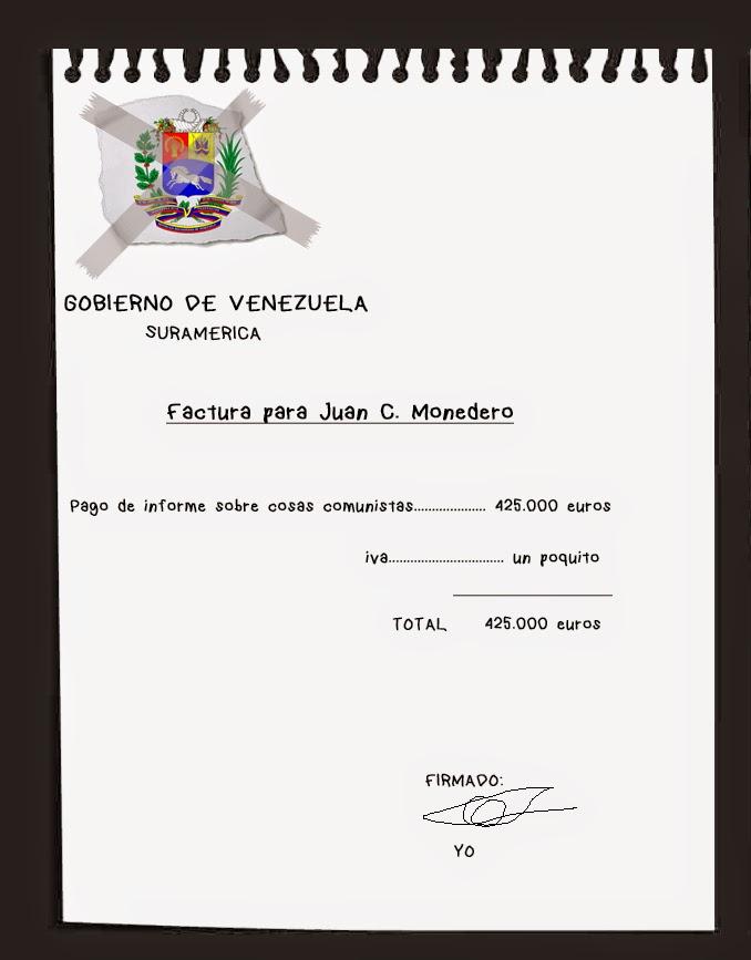 Factura del pago de Venezuela a Monedero