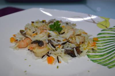 Cogumelos e miolo de camarão